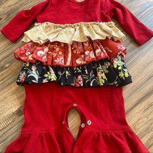 Giggle Moon 3M Red Long Sleeve Onesie ruffle baby